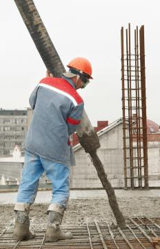 Weather can affect the curing of concrete that's poured on-site during building construction.