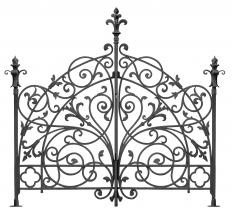 A wrought iron headboard.