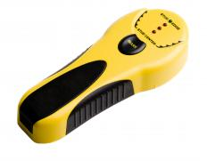 A stud finder reacts to either the magnetic or electrostatic field surrounding the stud in order to locate it.