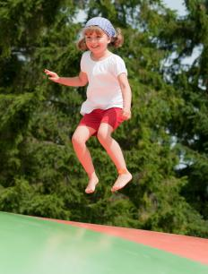 Gymnastics for children may include jumping on a trampoline.
