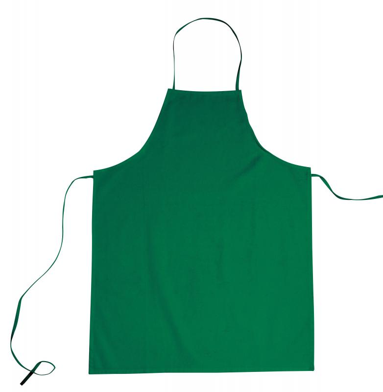 A bib apron is worn to protect clothing.