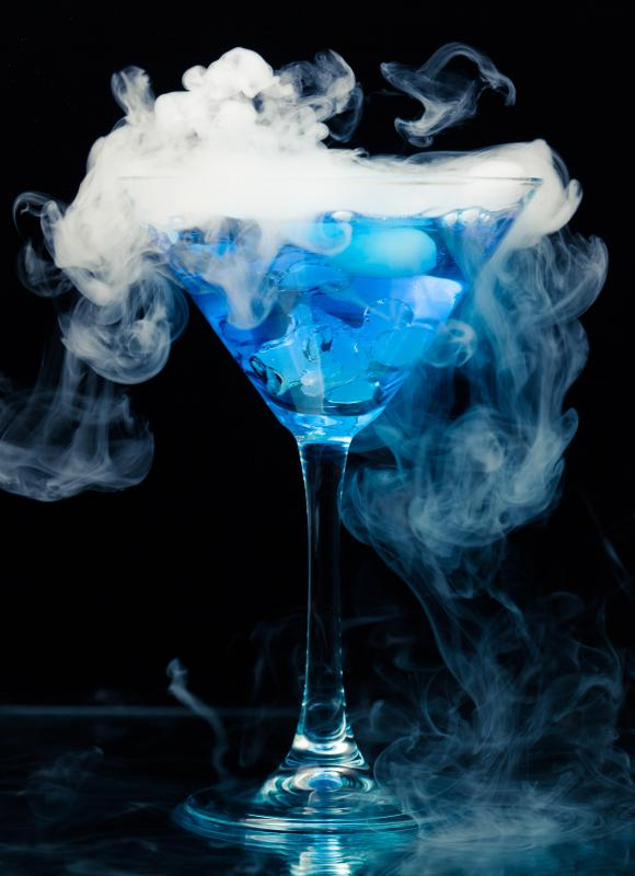 "Using dry ice to present a martini can be a sign that it's a ""dry"" martini."