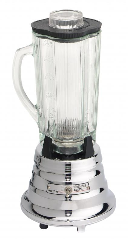 A kitchen blender is used to make homemade baby food.