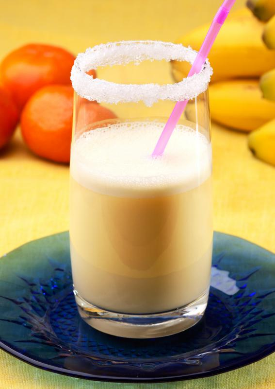 A banana-orange smoothie made using organic almond milk instead of milk.