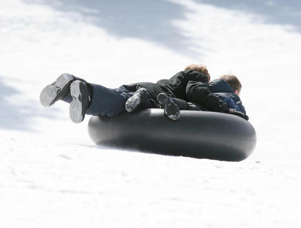 An innertube can be used to go snow tubing.