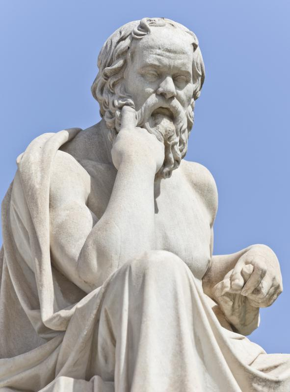 A statue of Socrates, an important Greek philosopher.