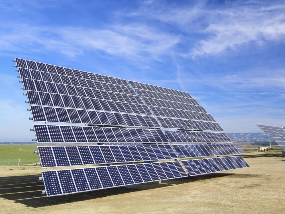 A solar table is a group of solar cells used to convert sunlight into energy.