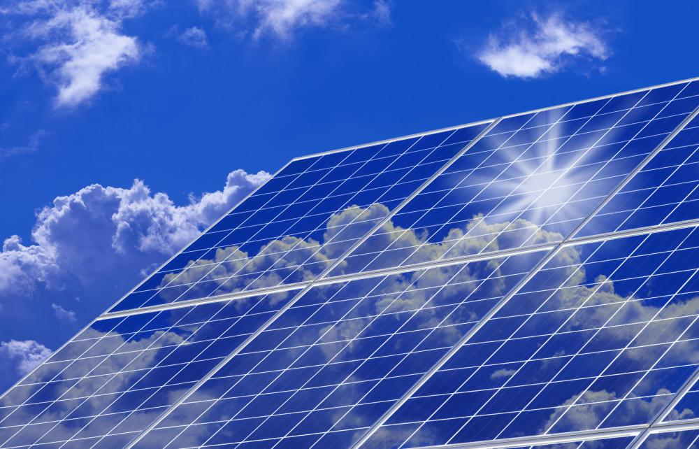 Photovoltaic modules make up solar panels.