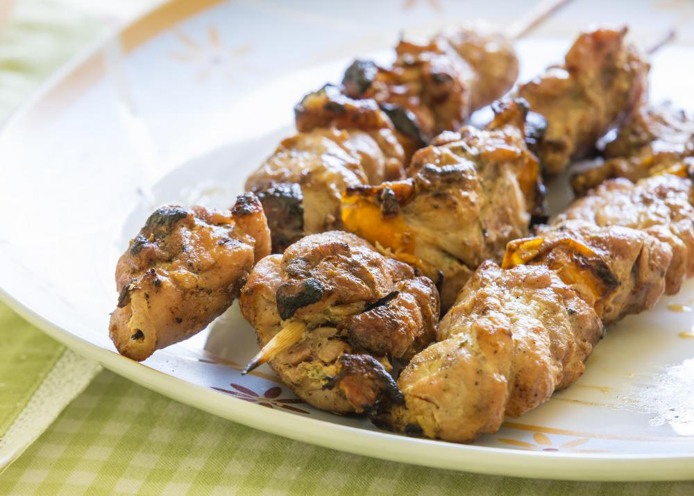 Wooden skewers should be soaked in water prior to barbequing.