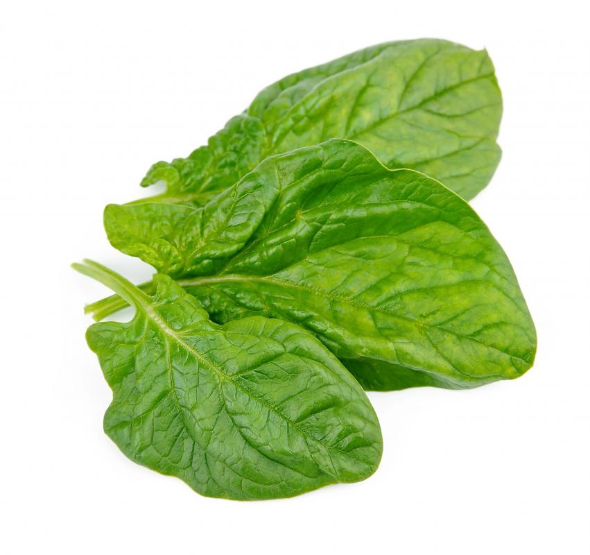 Spinach is high in fiber and vitamin C.