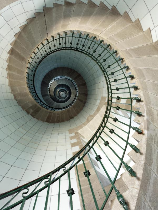 Spiral staircase in a lighthouse.