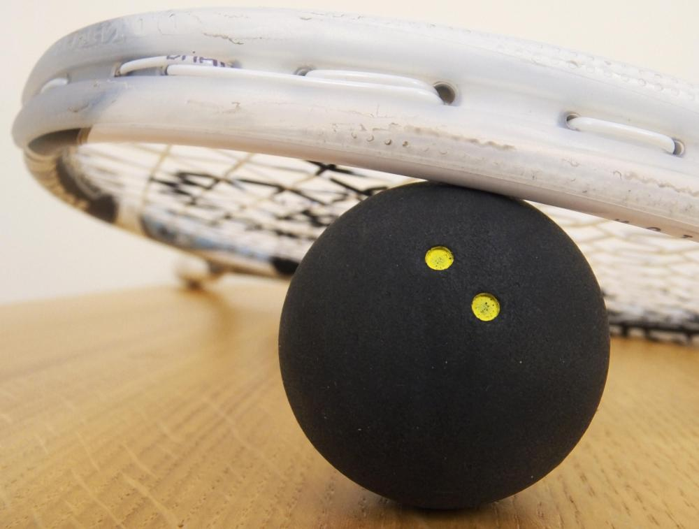 A squash ball is made out of rubber and is typically 4 cm in diameter.