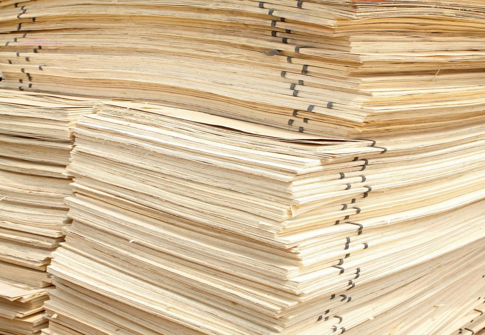 Stacks of fir plywood sheets.