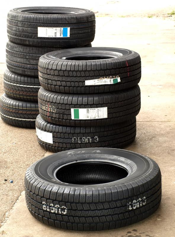 Old tires are often used to make black rubber mulch.