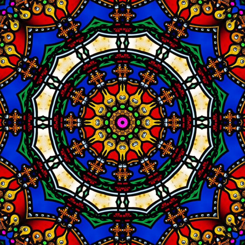 Visual hallucination with color and geometric pattern.