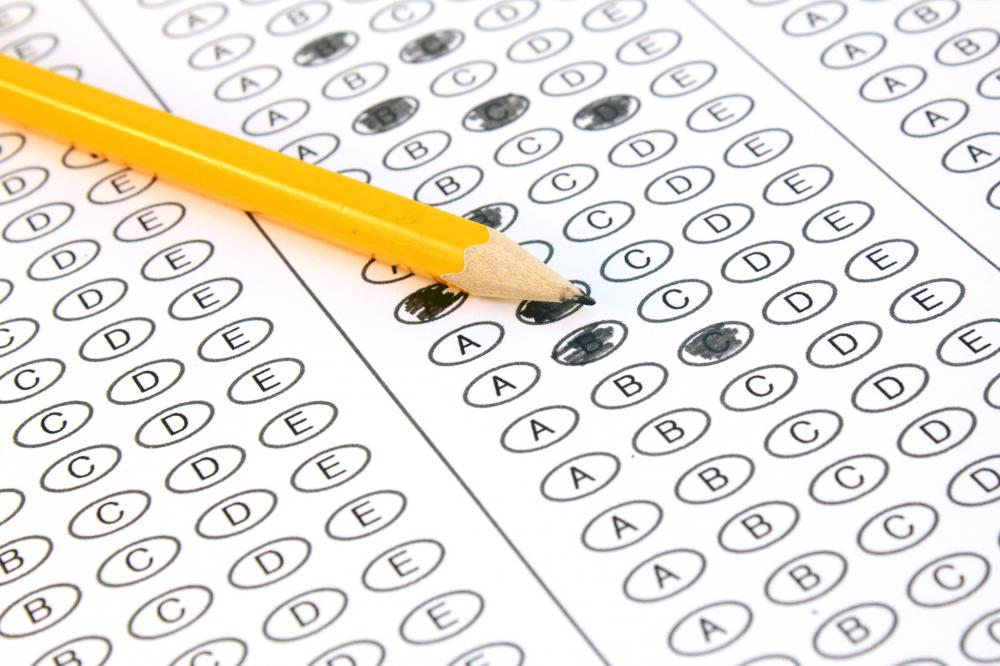 A typical answer sheet for a multiple choice standardized test. Each bubble represents a possible answer.