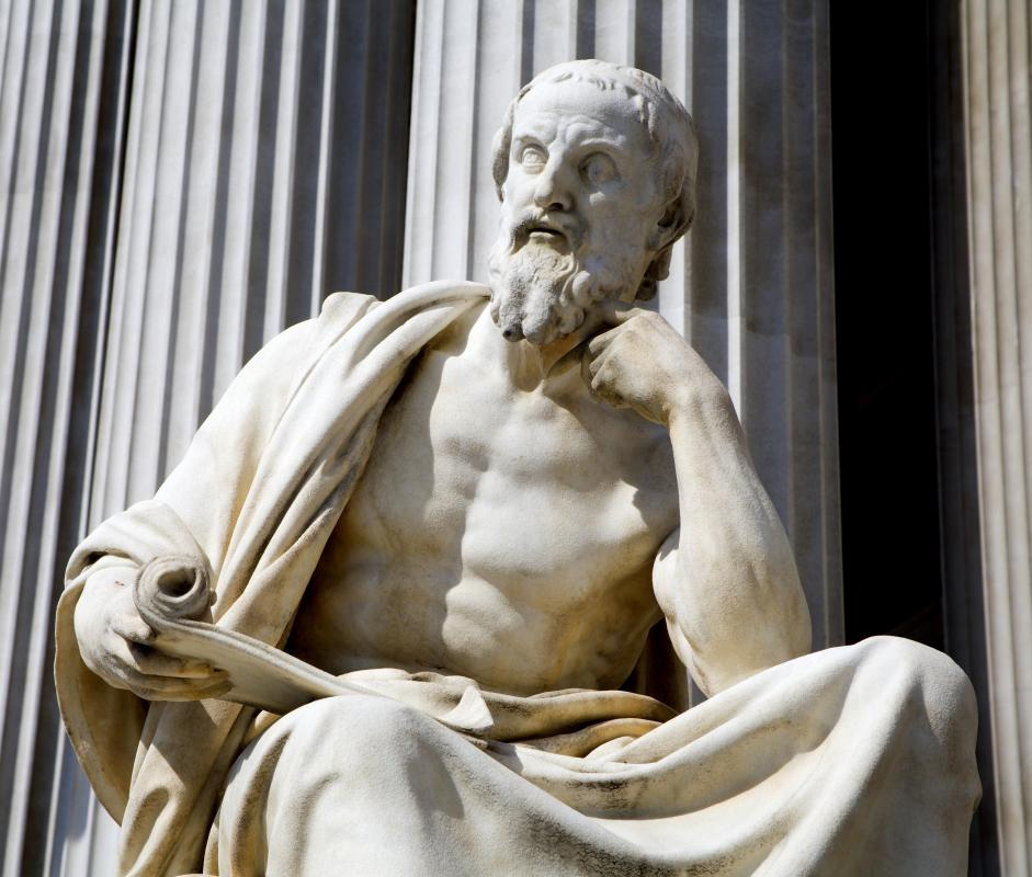 Herodotus's histories are the first surviving examples of a non-poetic work.