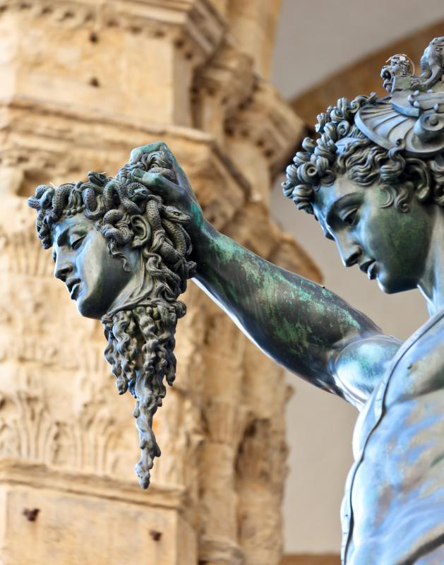 In Greek mythology, Athena's shield eventually held the head of Medusa.