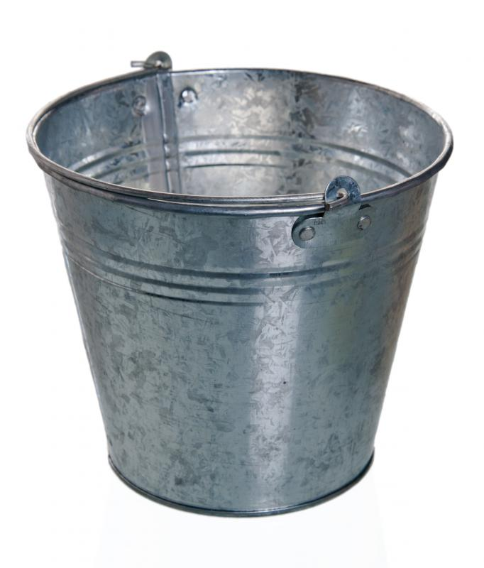 An unpainted galvanized steel bucket.