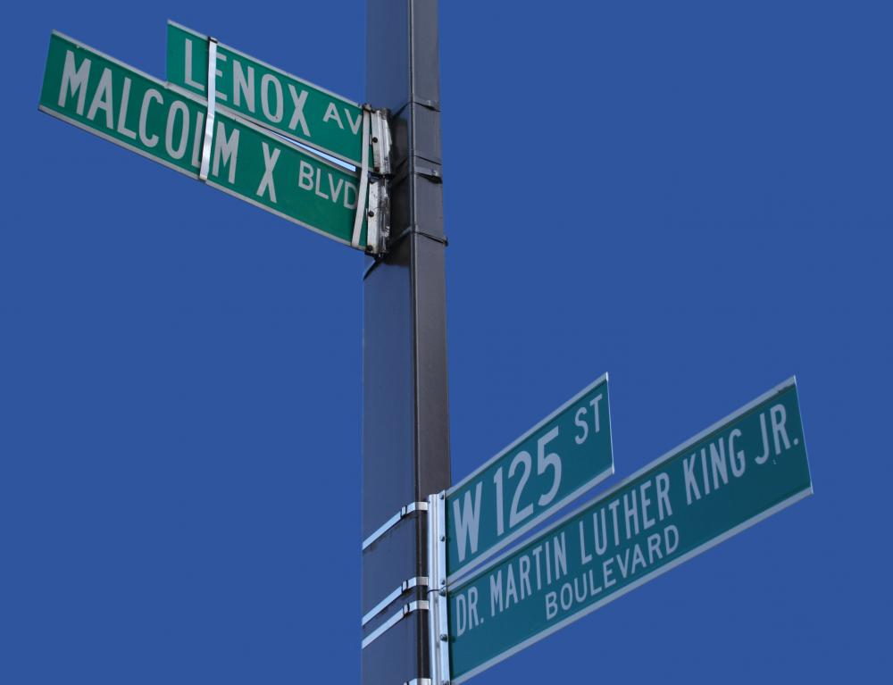 Street signs help people navigate around a city.