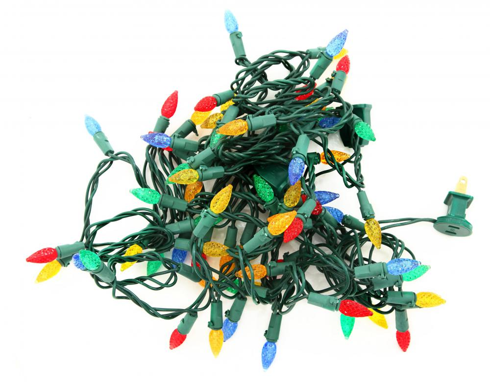 a tangled string of christmas lights
