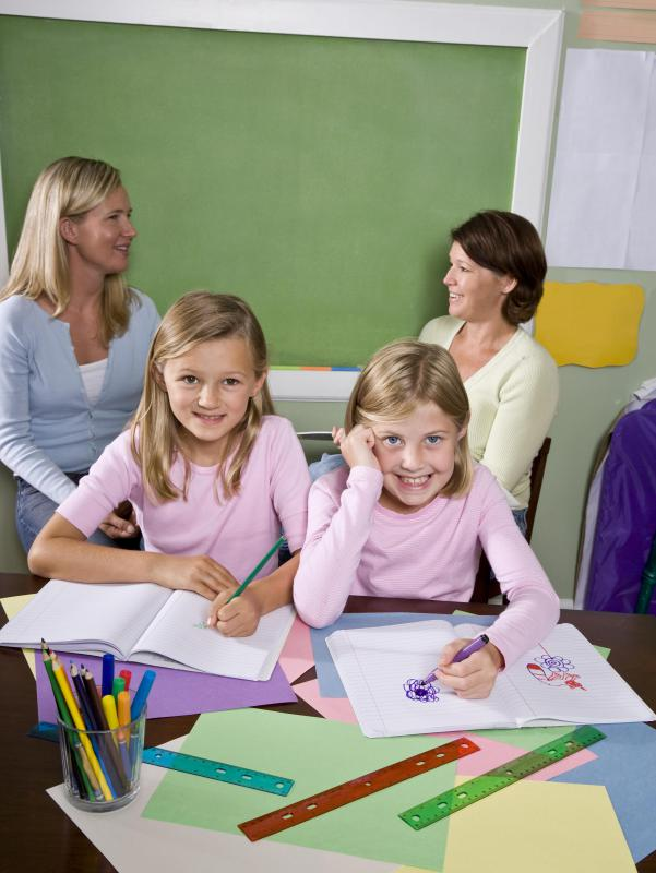 A teaching assistant may help students with academics and behavior.