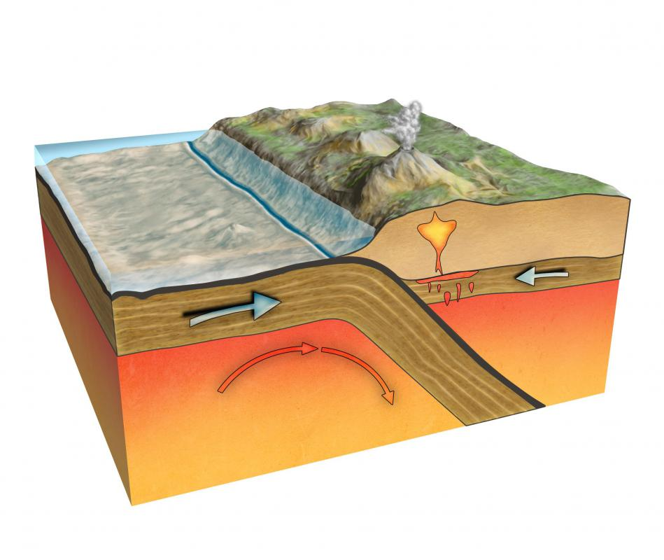 Subduction zones are formed when one tectonic plate moves beneath another; this often creates volcanos and causes earthquakes.