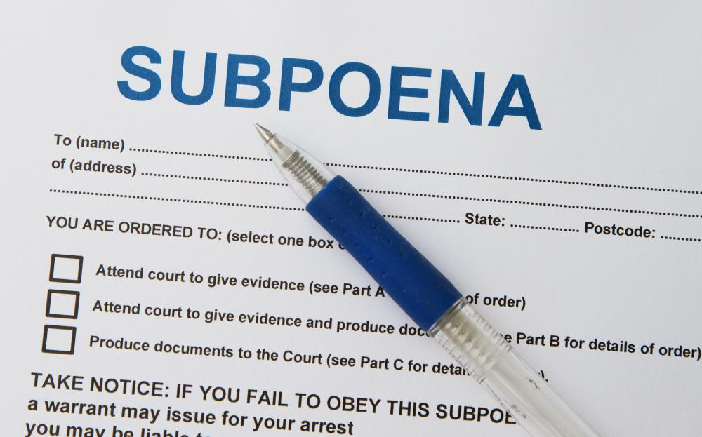 A subpoena compels the receiver to appear in court on a specific date to give evidence or to produce specific documents.