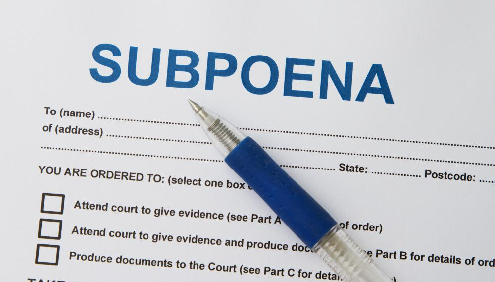 A court subpoena requires a person to appear in court.