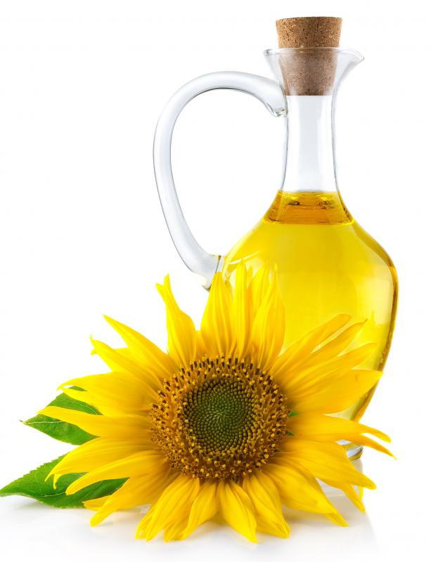 Expressed from the seeds of sunflowers, sunflower oil is a popular cooking oil that's high in vitamin E and low in saturated fat.