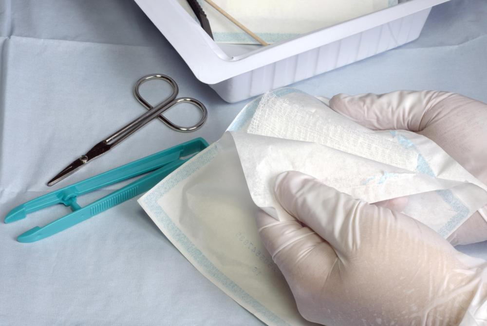 Sterile gauze is used as a dressing for the area around a nephrostomy tube.