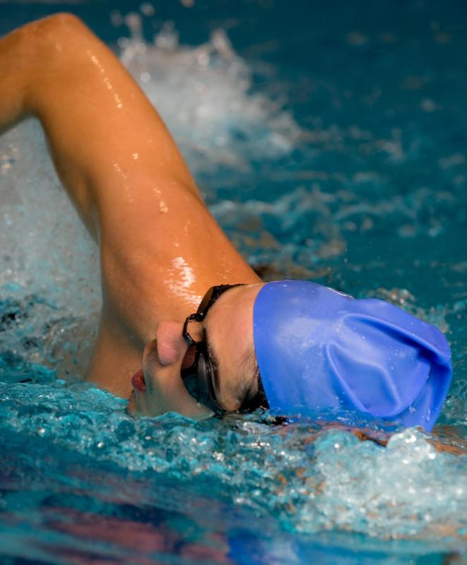 The pull of a front crawl requires moving the arm in a semicircle motion up and forward and then down towards the rib cage.