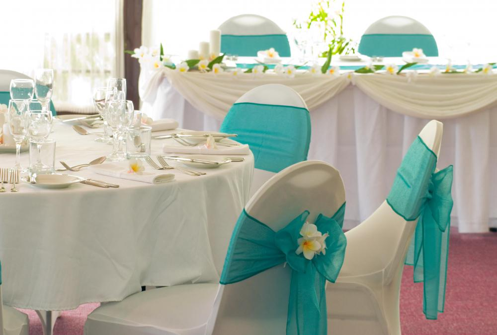 Wedding consultants might help in designing decorations to match a bride's theme.