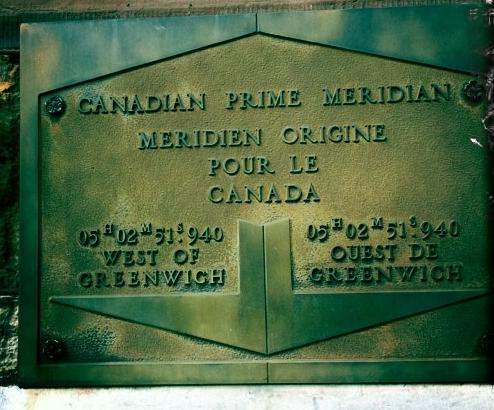 Tablet marking the Prime Meridian in Canada.