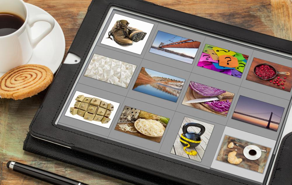 Software programs organize digital photos and provide thumbnail images.