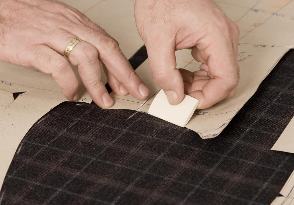 Tailors use chalk to make temporary marks on fabric and clothing.