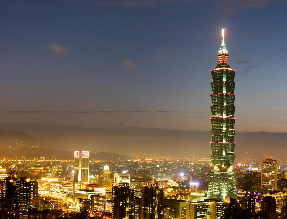 The Taipei 101, one of the world's tallest buildings, is an example of urban architecture.