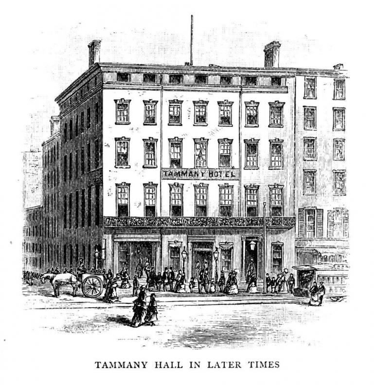 "Tammany Hall in New York City was a gathering place for William ""Boss"" Tweed and his political machine."