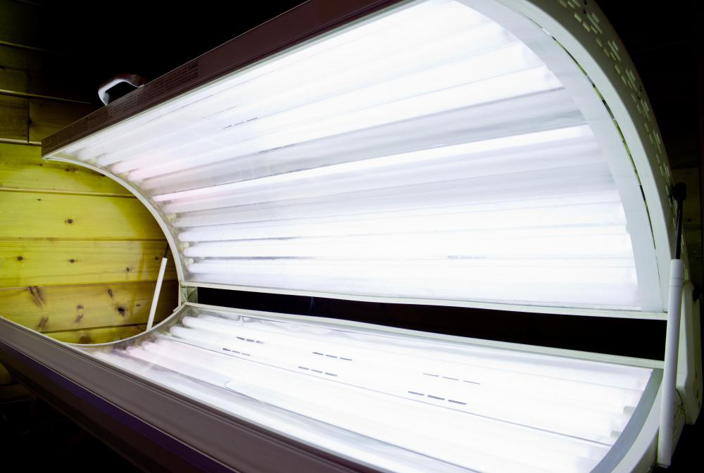 A tanning bed at a salon.