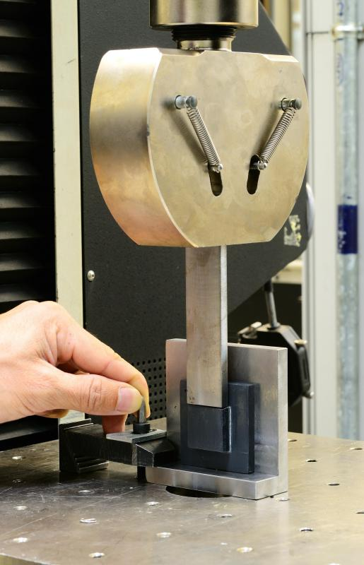 Tension tests use pulling forces, usually administered by a machine that has been specially calibrated, to test a material's strength.