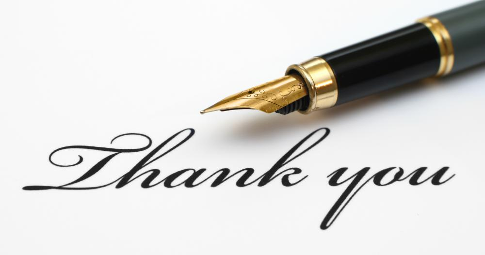 Sending a thank you card or thank you email is a good practice.