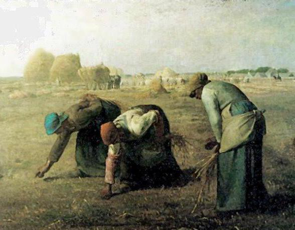 An example of Realist art, The Gleaners by Jean-Francois Millet.