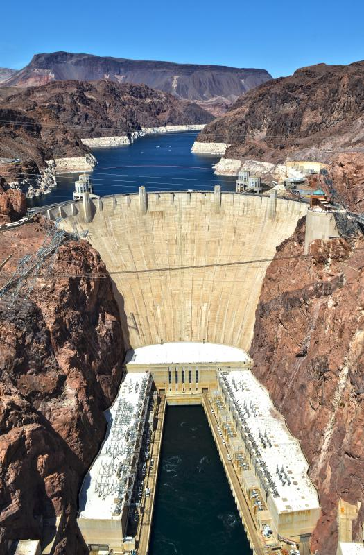 The Hoover Dam is used to generate hydroelectric power, a type of renewable energy.