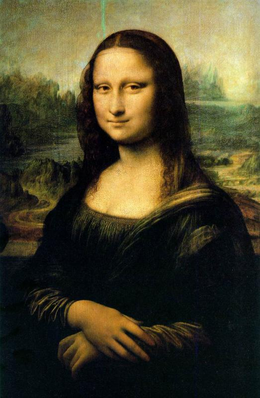 Leonardo da Vinci's Mona Lisa is in the public domain.