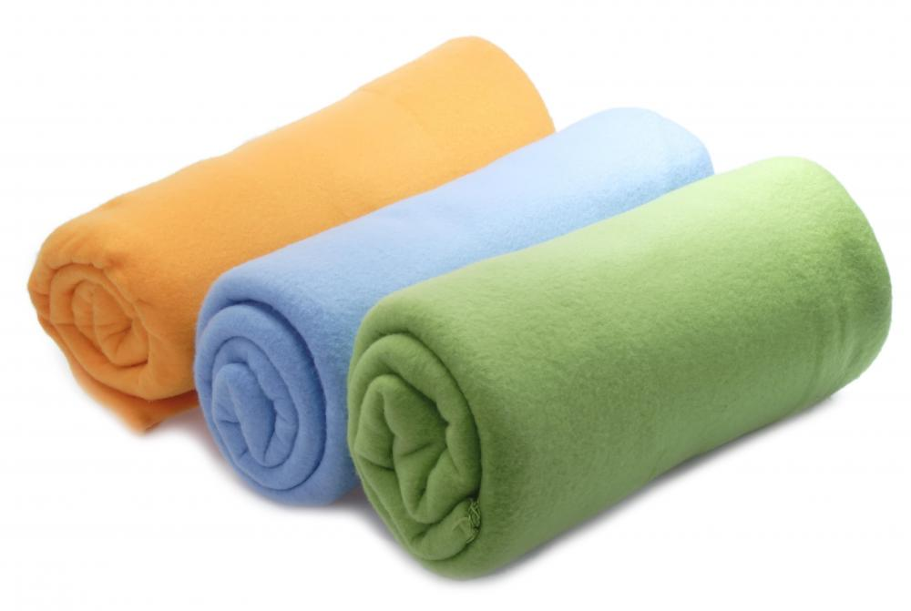 Fleece blankets are made out of tightly twisted polyester that can come in many colors and textures.