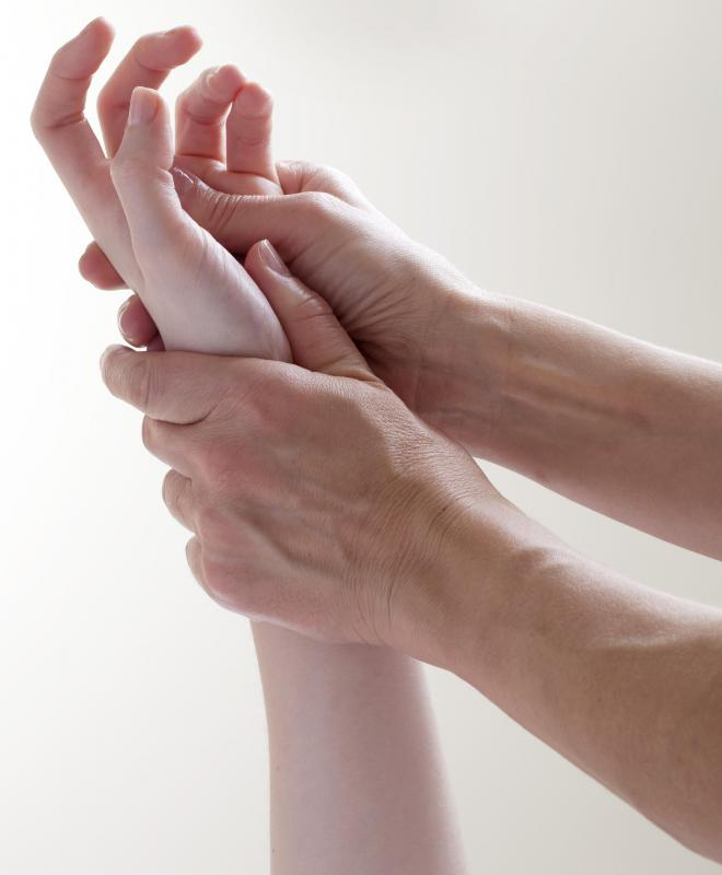 Reflexology is often practiced on the hands as well as the feet.