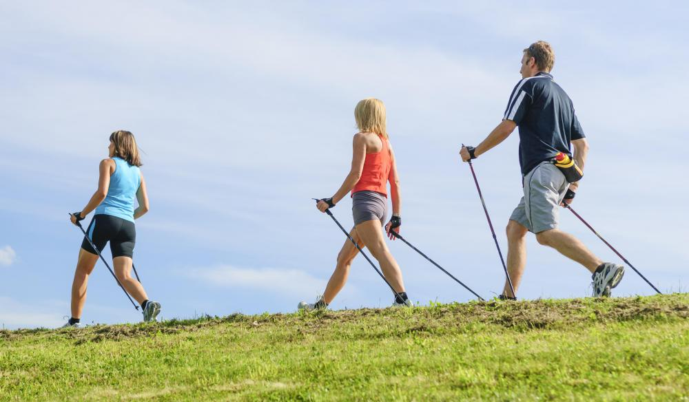 A walking stick, or hiking pole, can help a person maintain balance on uneven ground.