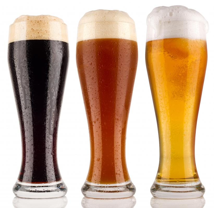 Three types of beer in pilsner glasses.