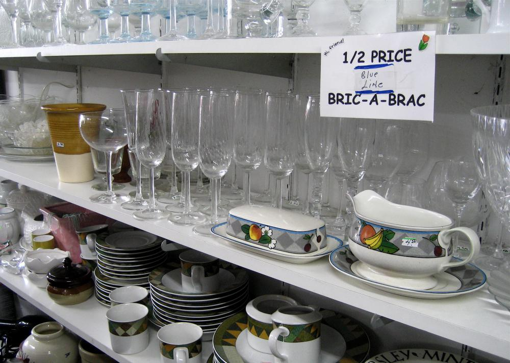 Antique wine glasses are sometimes donated to thrift stores for sale.