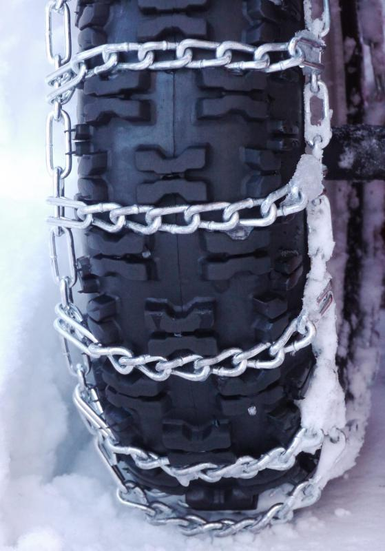 Tire chains can be purchased for ATVs to provide traction on snow-covered icy roads.